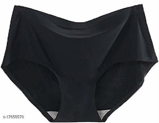 Women Bikini Black Cotton Blend Panty