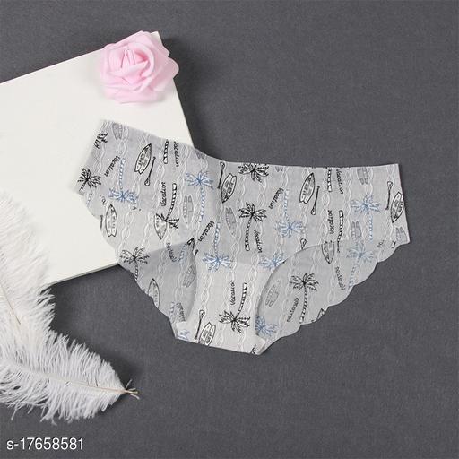 Women Bikini Grey Cotton Blend Panty