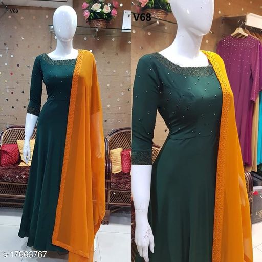 Intricate Green Colored Partywear Diamond Work Stitched Georgette Floor Touch Goen