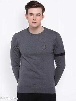 Club York Men's Grey Long Sleeve Solid Sweater