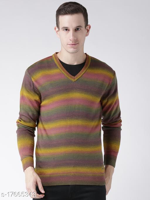 Club York Men's Yellow Acrylic Full Sleeve Striped Sweater