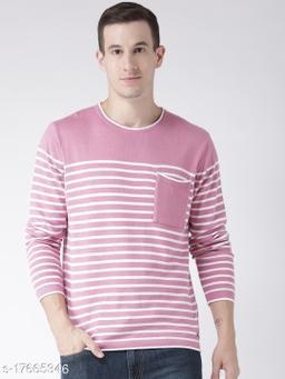 Club York Men's Pink Full Sleeve Striper Sweater