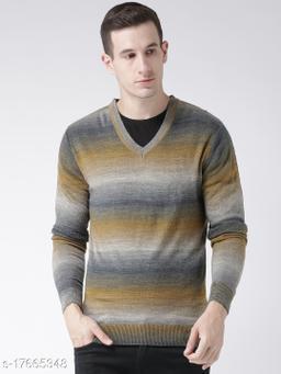 Club York Men's Brown Acrylic Full Sleeve Striped Sweater