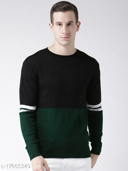 Club York Men's Black Acrylic Full Sleeve Colorblocked Sweater
