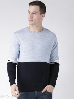 Club York Men's Blue Acrylic Full Sleeve Colorblocked Sweater