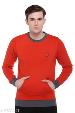 Club York Men's Red Long Sleeve Solid Sweater