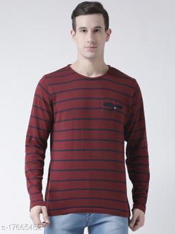 Club York Men's Maroon Round Neck Acrylic Striped Long Sleeve Sweater