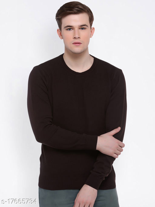 Club York Men's Brown Round Neck Solid Long Sleeve Sweater