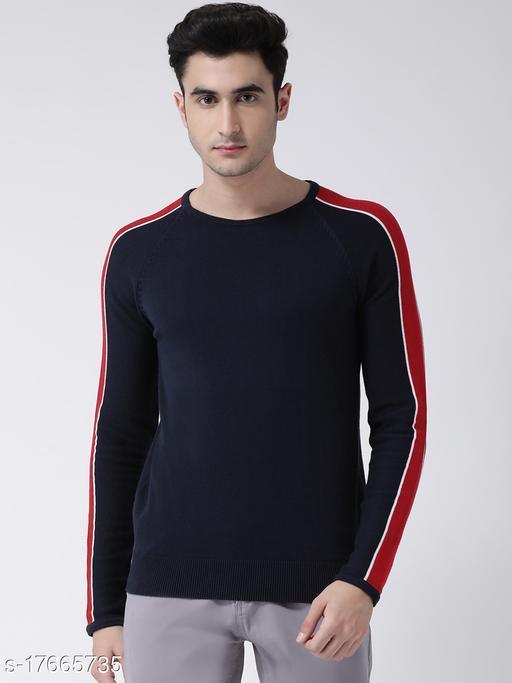 Club York Men's Dark Blue Full Sleeve Solid Round Neck Sweater