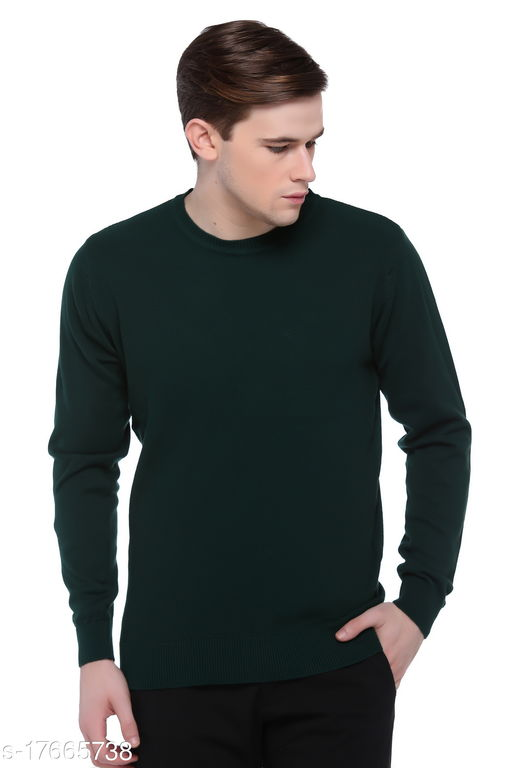Club York Men's Green Round Neck Solid Long Sleeve Sweater
