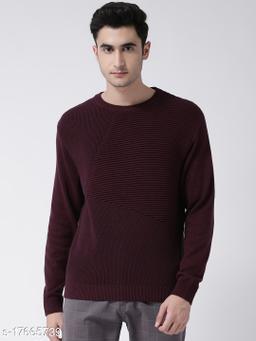Club York Men's Maroon Full Sleeve Self Design Round Neck Sweater