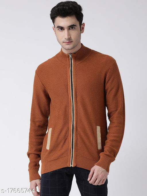Club York Men's Orange Long Sleeve Solid Sweater