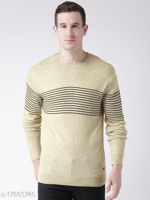 Club York Men's Beige Long Sleeve Striper Round Neck Sweater