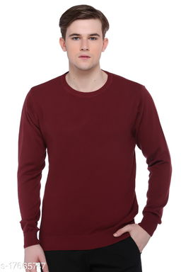 Club York Men's Maroon Round Neck Solid Long Sleeve Sweater