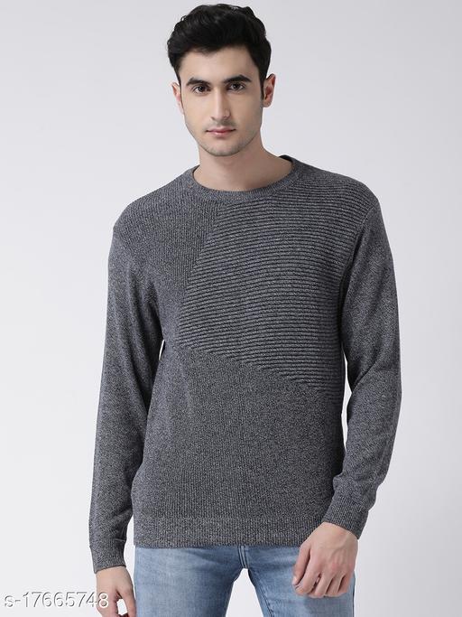 Club York Men's Charcoal Full Sleeve Self Design Round Neck Sweater