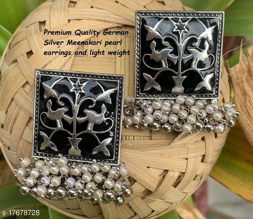 Premimum Quality Brass Metal Meenakari pearl Earrings - Silver Black