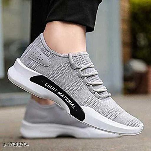 Stylish Men's Mesh Grey Sports Shoes