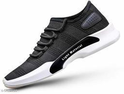 Trendy Men's Mesh Black Sports Shoes