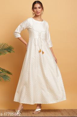 Janasya Women's Off White Poly Silk Kurta