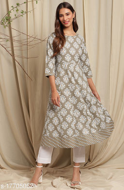 Janasya Women's Green Cotton Kurta