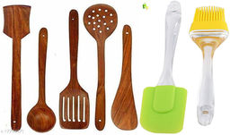 Wooden Non-Stick Serving and Cooking Spoon Kitchen Tools Utensil, Set of 5 Size Combo with Big Spatula and Brush Set