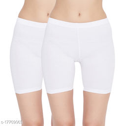 Women Boy Shorts White Cotton Panty (Pack of 2)