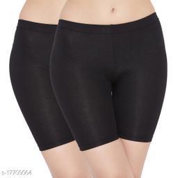 Women Boy Shorts Black Cotton Panty (Pack of 2)