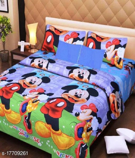 Dev Impex 144 TC 3D Printed Polycotton Double Bedsheet with 2 Matching Pillow Covers (Multicolour, 90 inches X 90 Inches)