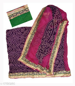 Synthetic Saree with Running Blouse