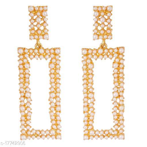 Golden Grace Fashion Jewellery Indian Bollywood Traditional Designer Wedding Pearl Chandelier Earrings Jewellery in Gold Tone for Women