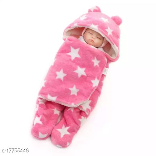 BRANDONN  New born Hooded Supersoft Full Body Cover Envelope wrap Cum Baby Blanket For Babies (0-6 Months)