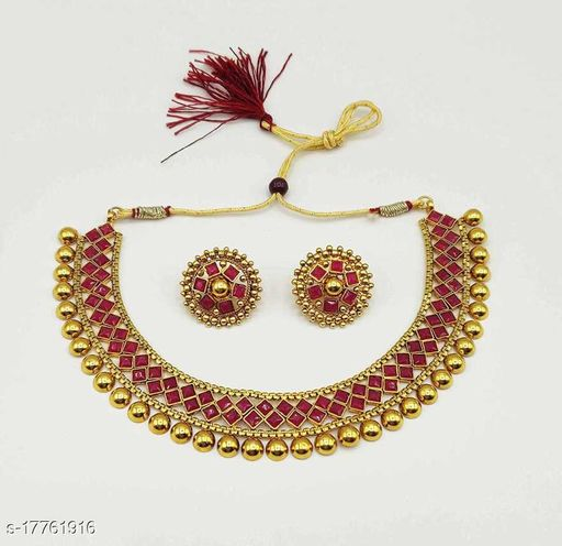 Golden & Red Tone Kundan Necklace Set for Women