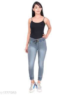 S-Marquies Women's Slim fit Strechable Denim Joggers Pant for Girl's.
