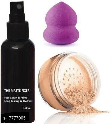 Premium combo of makeup fixer,loose powder foundation with makeup blunder(pack of 3)