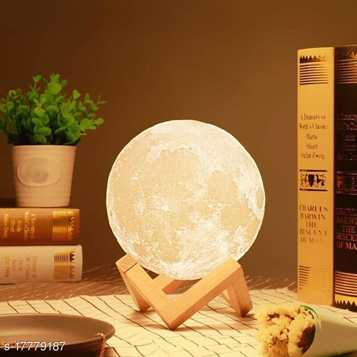Color Changing Moon Night Lamp with Wooden Stand for Bedroom Lights for Kids and Adults for Home Room and Office Beautiful Indoor Lighting