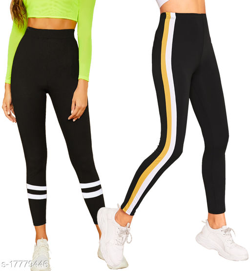 Women's Side Stripped jegging Combo Pack of 2_Active Wear Jeggings Combo pack of 2_gym wear _yoga pants_gym wear _casual legging_DOUBLE Stripped