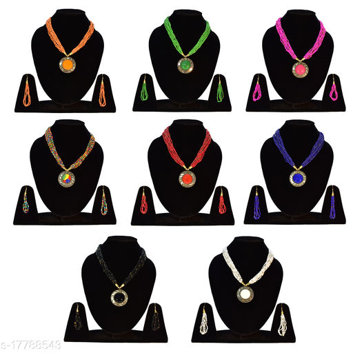 Stylish Women's and Girl's 8 Pcs Jewellery Set Beads Brass Necklace