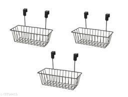 Tradevast Hanging Door Metal Basket Wire Rack for Extra Cabinet Storage for Kitchen, Bathroom & Refrigerator Organizer - Set of 3 (Black)
