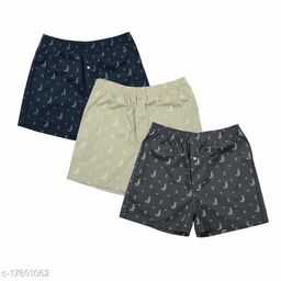 Men's Boy's Cotton Hosiery Relaxed Shorts/Bermuda Pack of 3