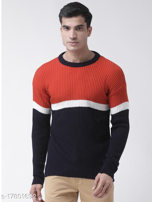 Club York Men's Orange Full Sleeve Colourblocked Round Neck Sweater