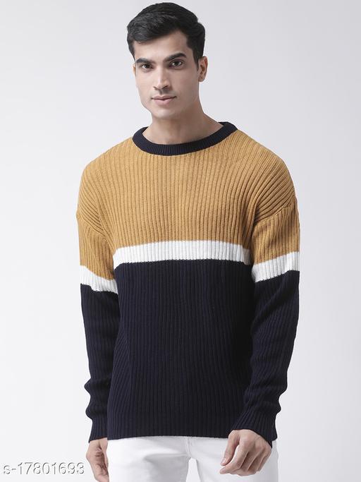 Club York Men's Mustard Full Sleeve Colourblocked Round Neck Sweater