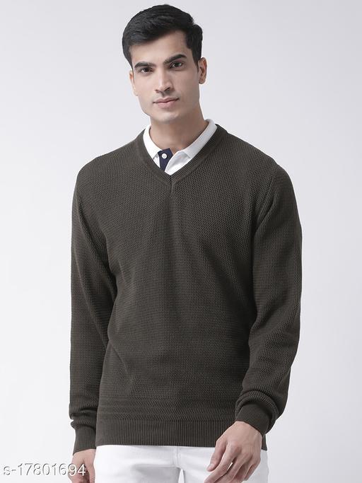 Club York Men's Olive Full Sleeve Self Design V-Neck Sweater