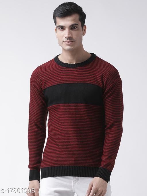 Club York Men's Red Full Sleeve Striped Round Neck Sweater