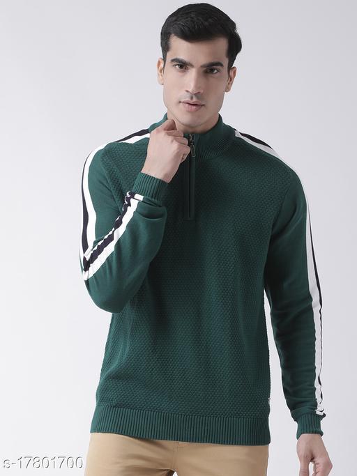 Club York Men's Green Full Sleeve Self Design High Neck Sweater With Front Half Zipper