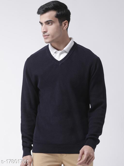 Club York Men's Navy Blue Full Sleeve Self Design V-Neck Sweater