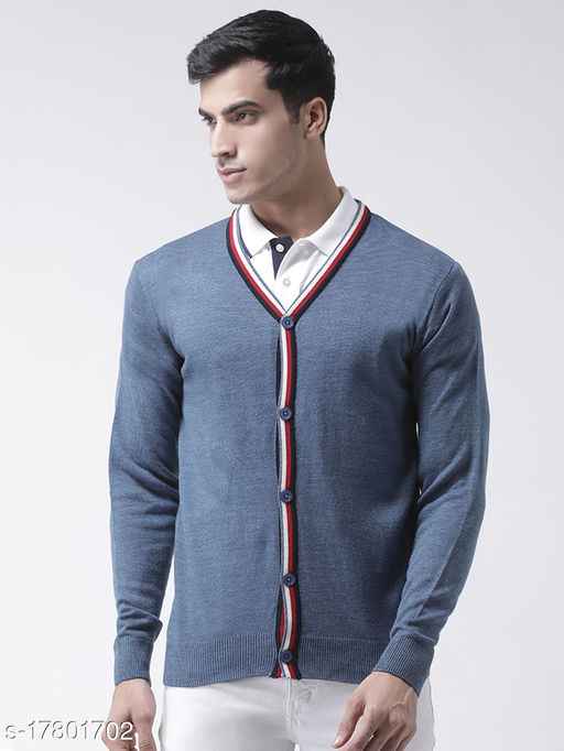 Club York Men's Blue Full Sleeve Solid V-Neck Front Open With Button Sweater