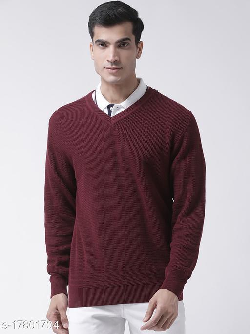 Club York Men's Maroon Full Sleeve Self Design V-Neck Sweater