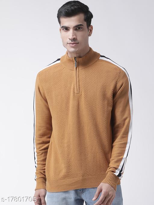 Club York Men's Mustard Full Sleeve Self Design High Neck Sweater With Front Half Zipper