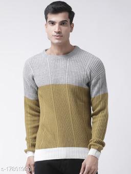 Club York Men's Grey Full Sleeve Colourblocked Round Neck Sweater