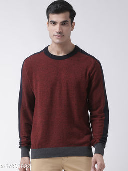 Club York Men's Rust Full Sleeve Self Design Round Neck Sweater